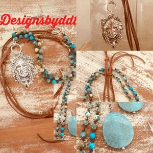 Jewelry - Necklace set jasper,turquoise with earrings